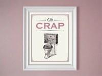 Oh Crap Pink Mauve Humorous Bathroom Sign Wall Decor Art 8x10