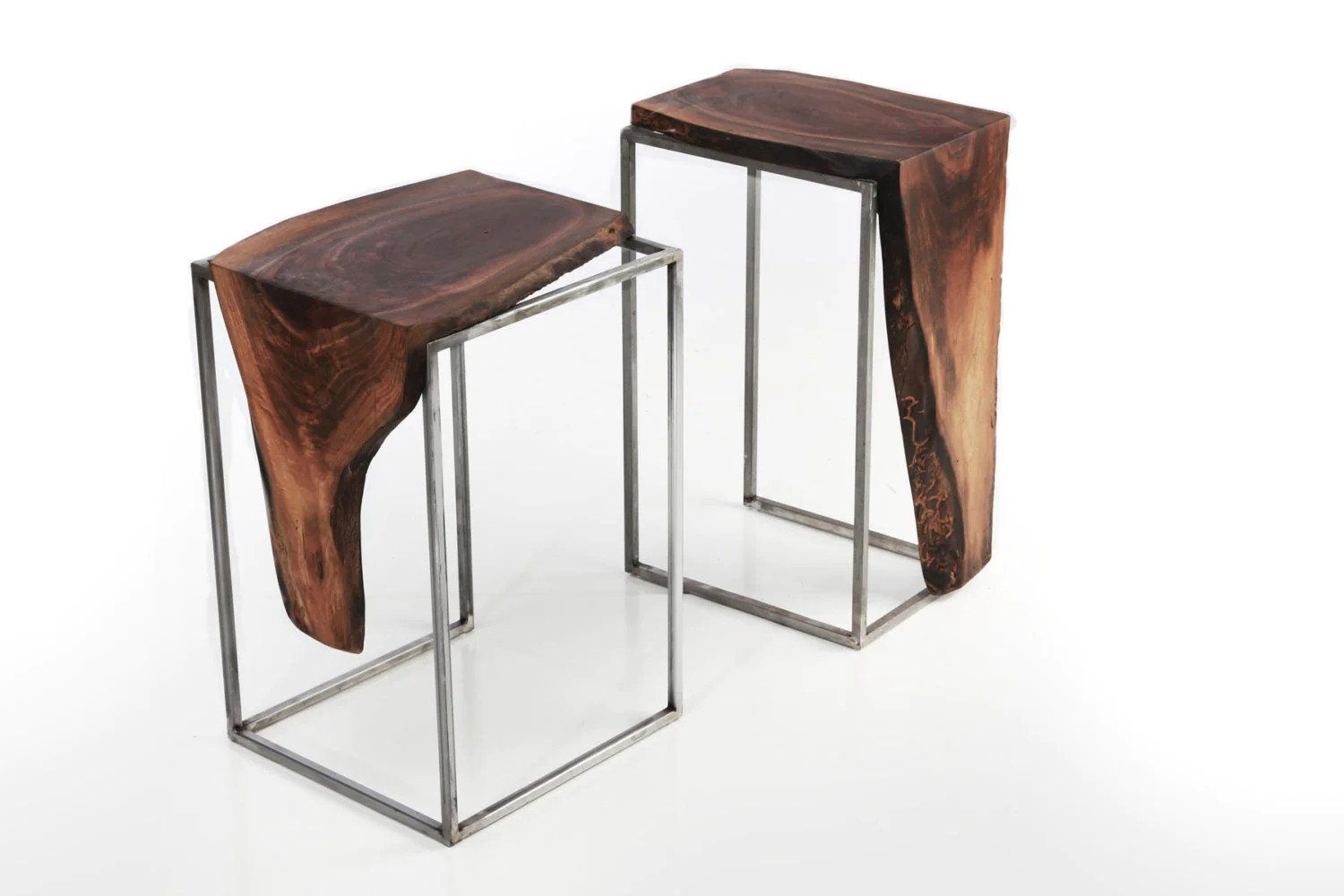 Set Of 2 Side Tables Solid Black Walnut Live Edge Top With