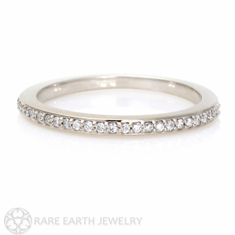 white sapphire band white wedding band White Sapphire Wedding Band Sapphire Anniversary Band 14K 18K Gold Platinum Palladium Sapphire Ring Stacking Ring