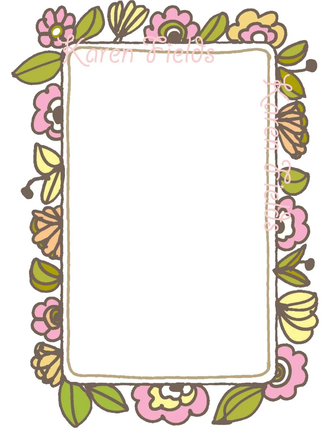 Cute Bordered Pastel Flower Wallpaper Items Similar To Borders Frames Vintage Style Decorative