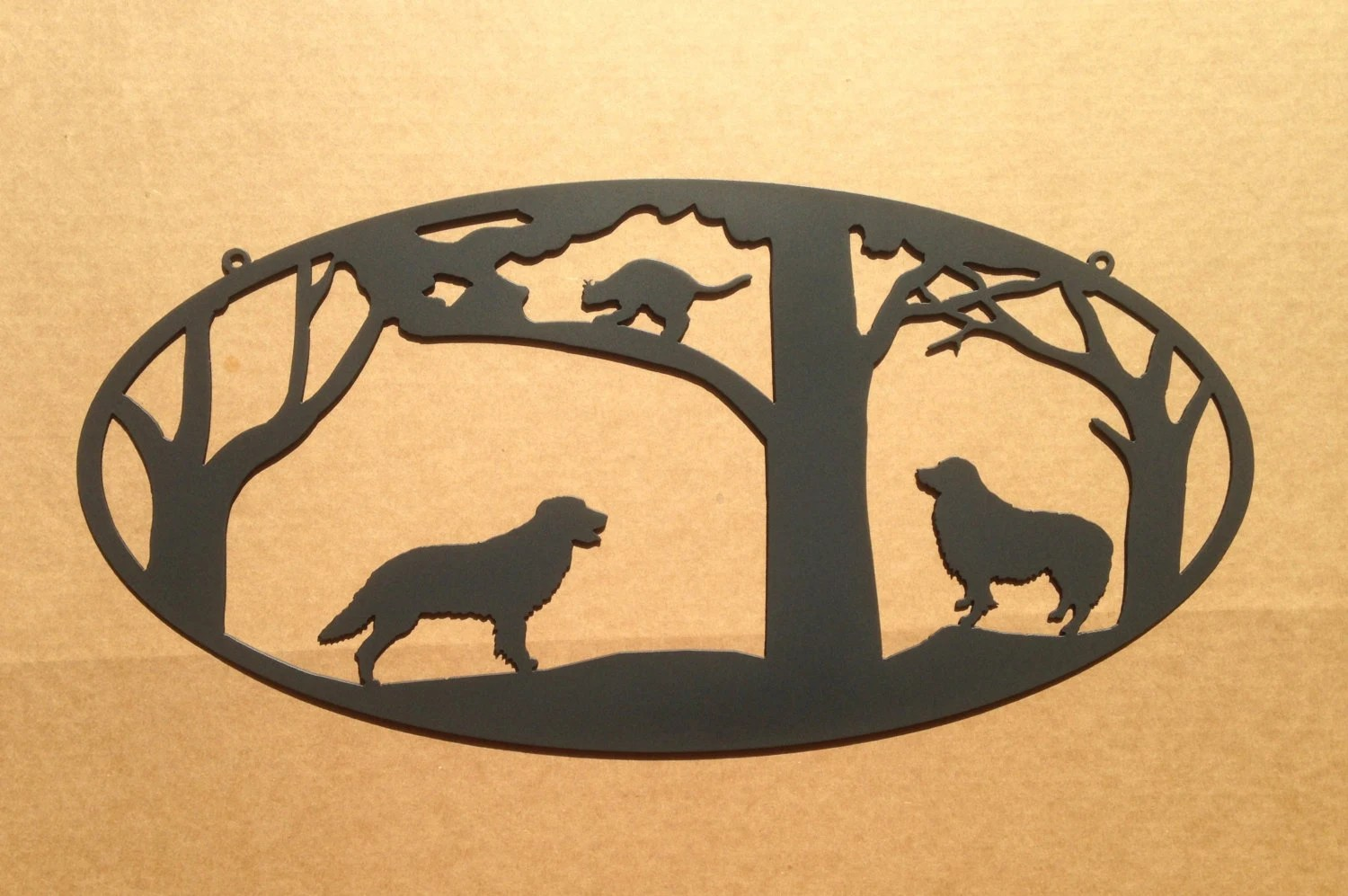 Cat Wall Art Metal Dogs Chase A Cat Into A Tree Metal Wall Art By
