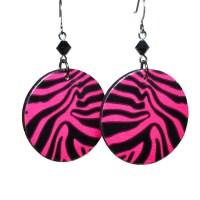 Hot Pink Zebra Earrings Animal Print Jewelry Duct Tape