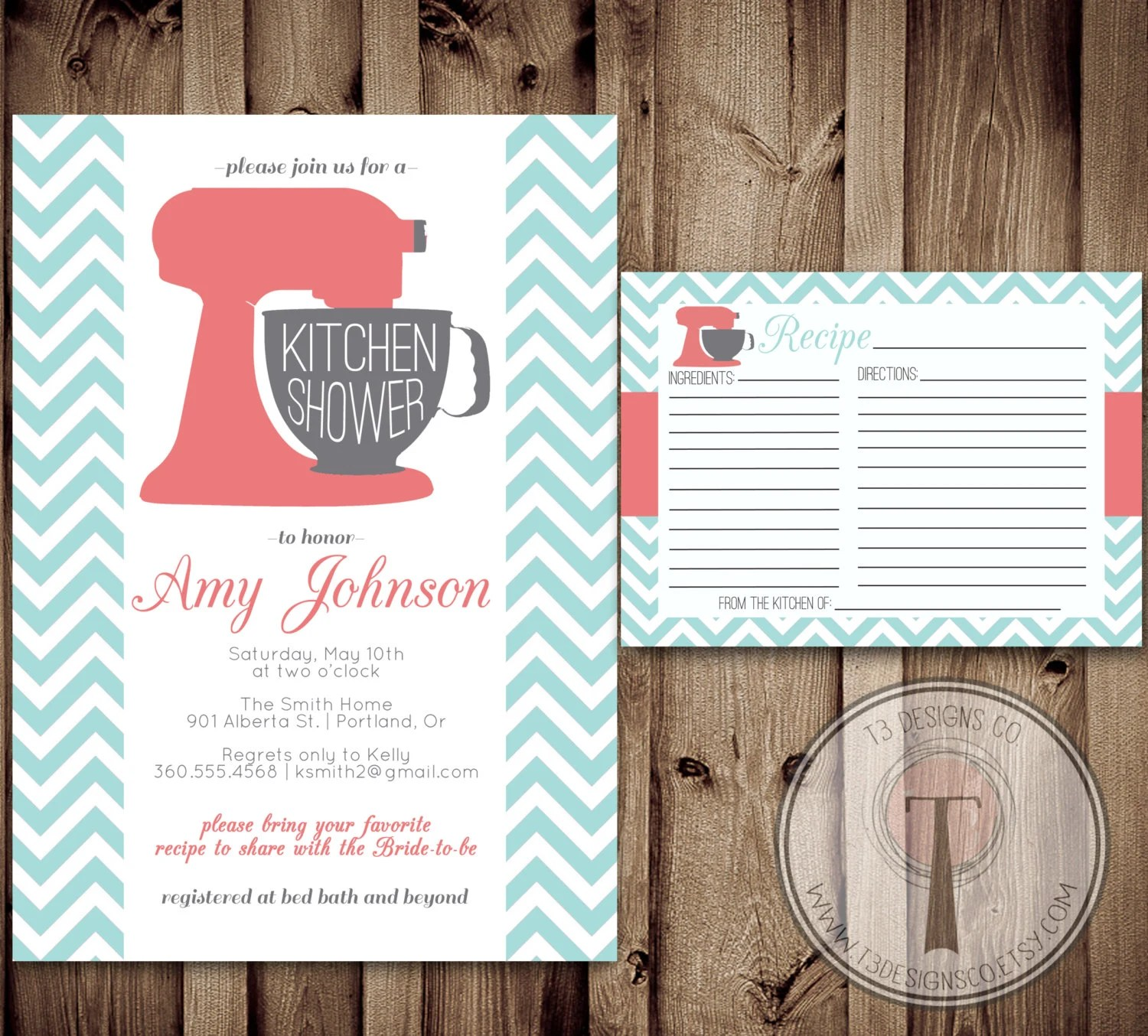 Kitchen Shower Invitation and Recipe Card Kitchen by T3DesignsCo - recipe card