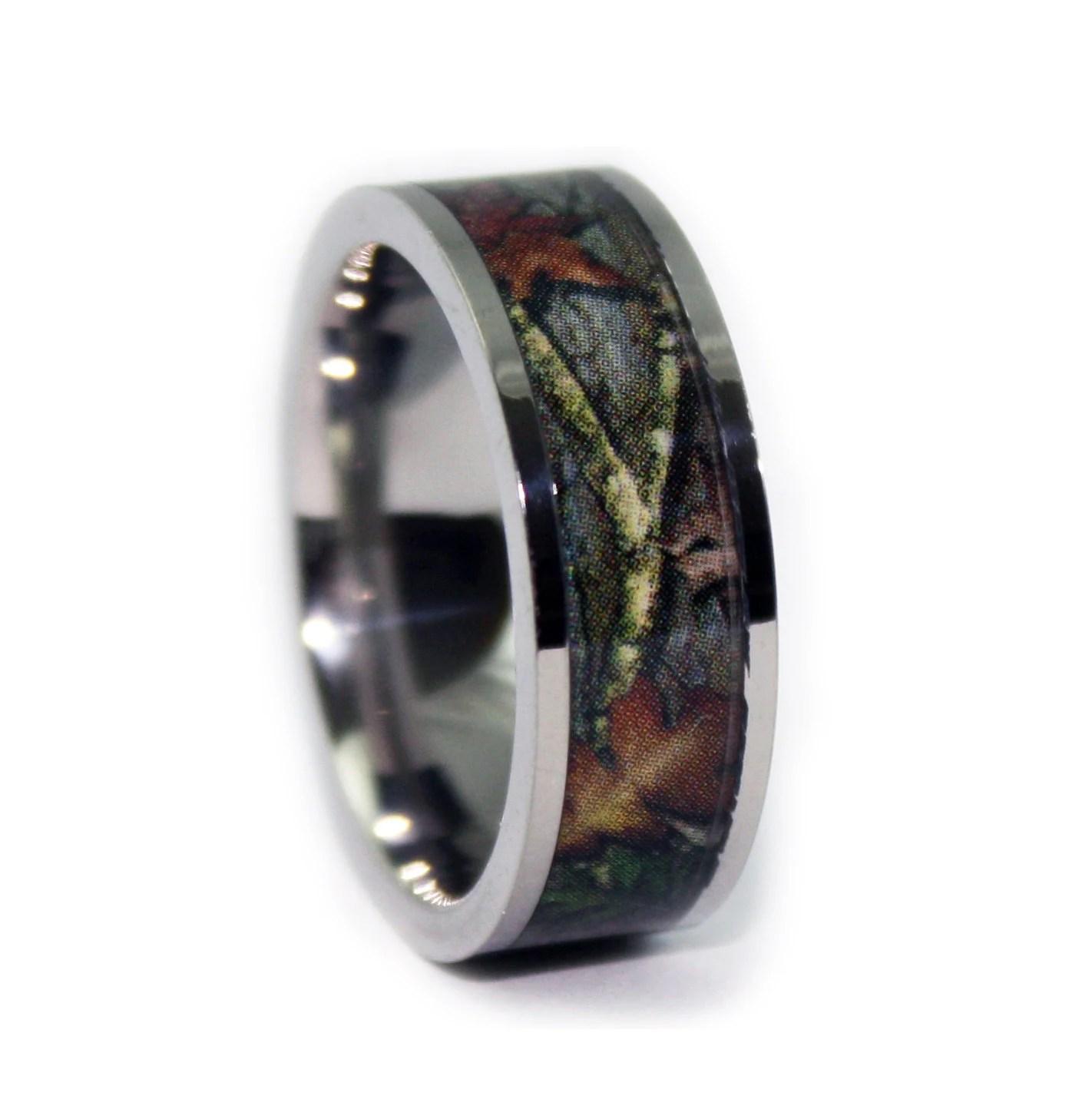 camo wedding rings camo wedding band sets Camo Wedding Rings by ONE CAMO Flat Titanium Mens Wedding Band Camo Engagement Rings