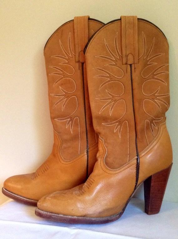 Vintage Frye Leather Women39s Cowboy Boots
