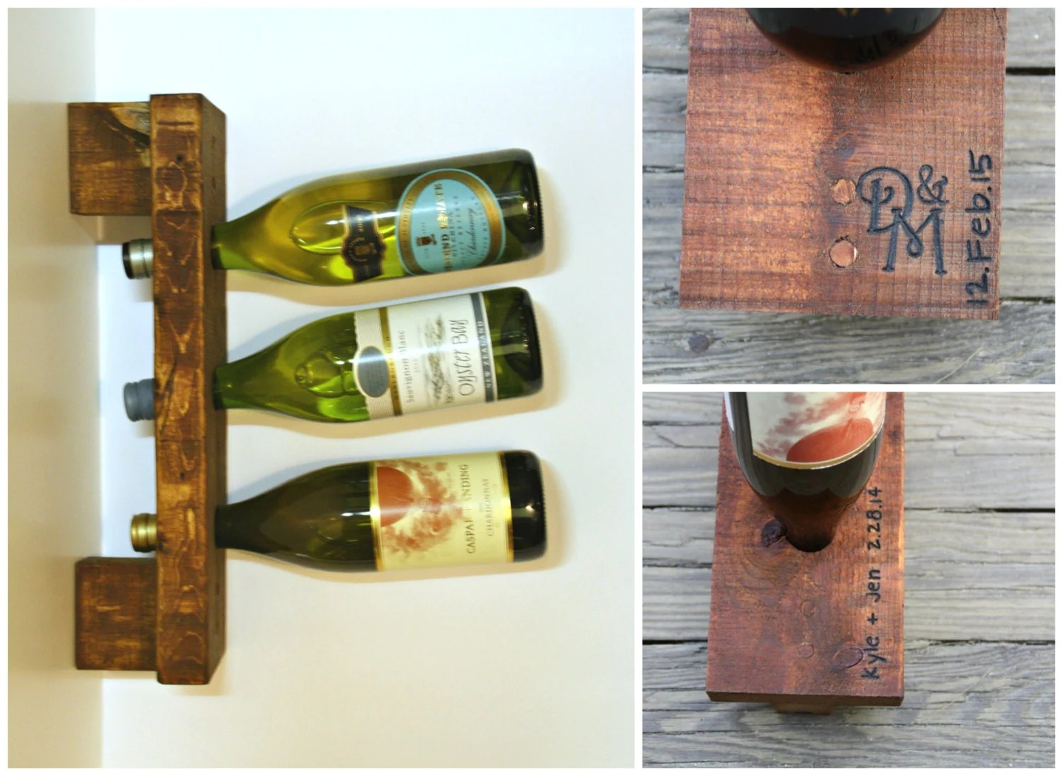 Wine Rack Built Into Wall Wood Wine Rack Wall Rack 3 Bottle Personalized Wedding