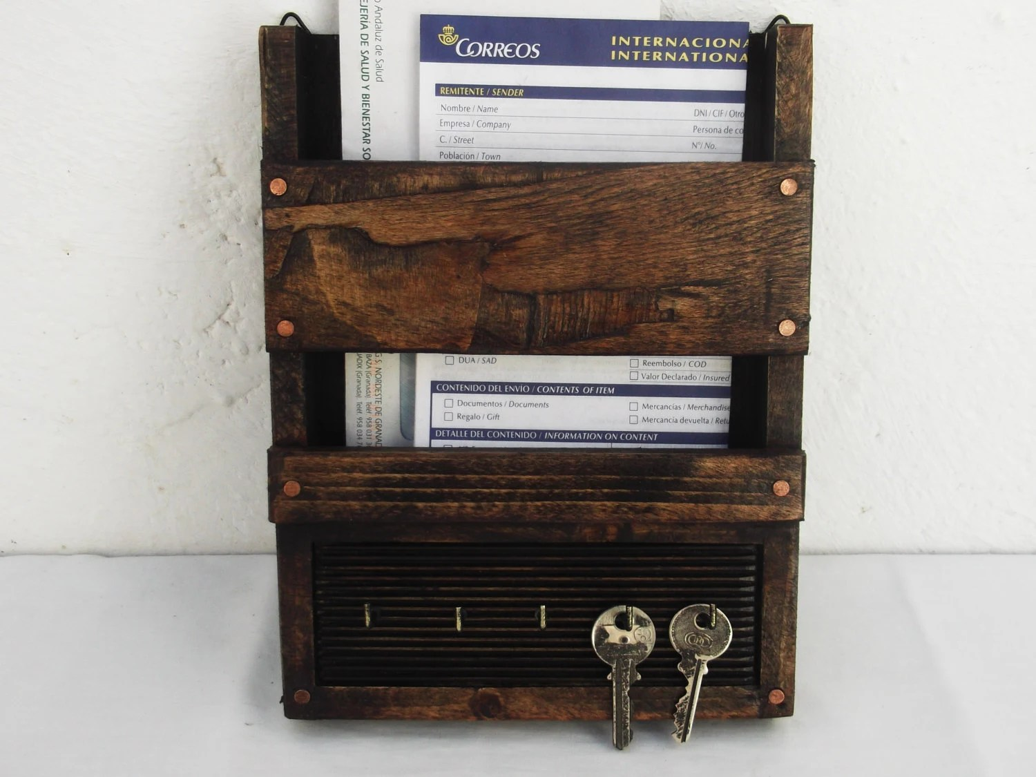 Hanging Mail And Key Organizer Wall Hanging Rustic Wooden Mail Organizer Key By