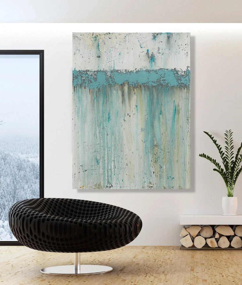 Cuadros Abstractos Grandes Reserved For Kelly Large Teal Wall Art Modern Abstract By Cmfa
