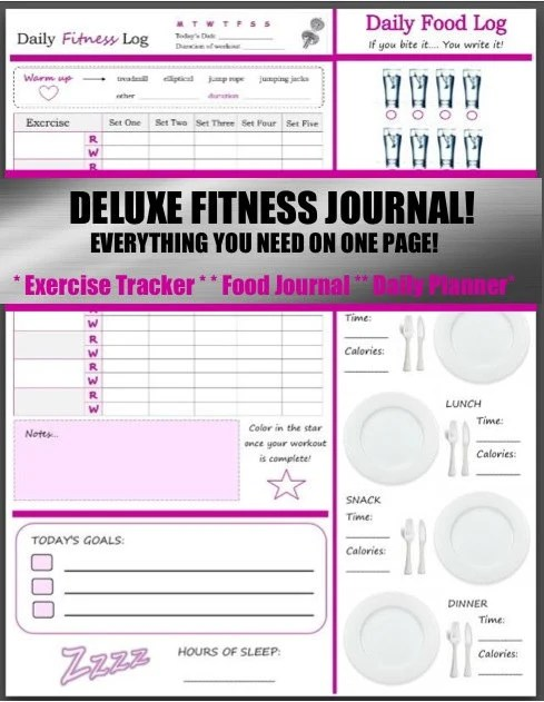 Printable Health And Fitness Planners And Printable Planner Stickers - Free Fitness Journal Printable