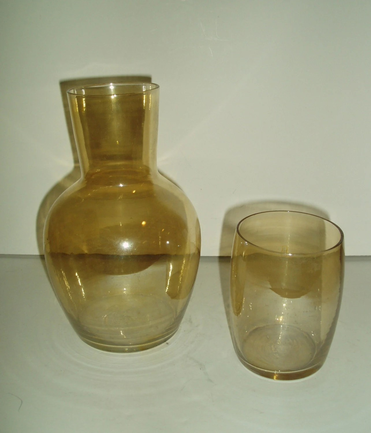 Bedside Water Carafe And Glass Vintage Amber Glass Bedside Water Carafe And Tumbler Set