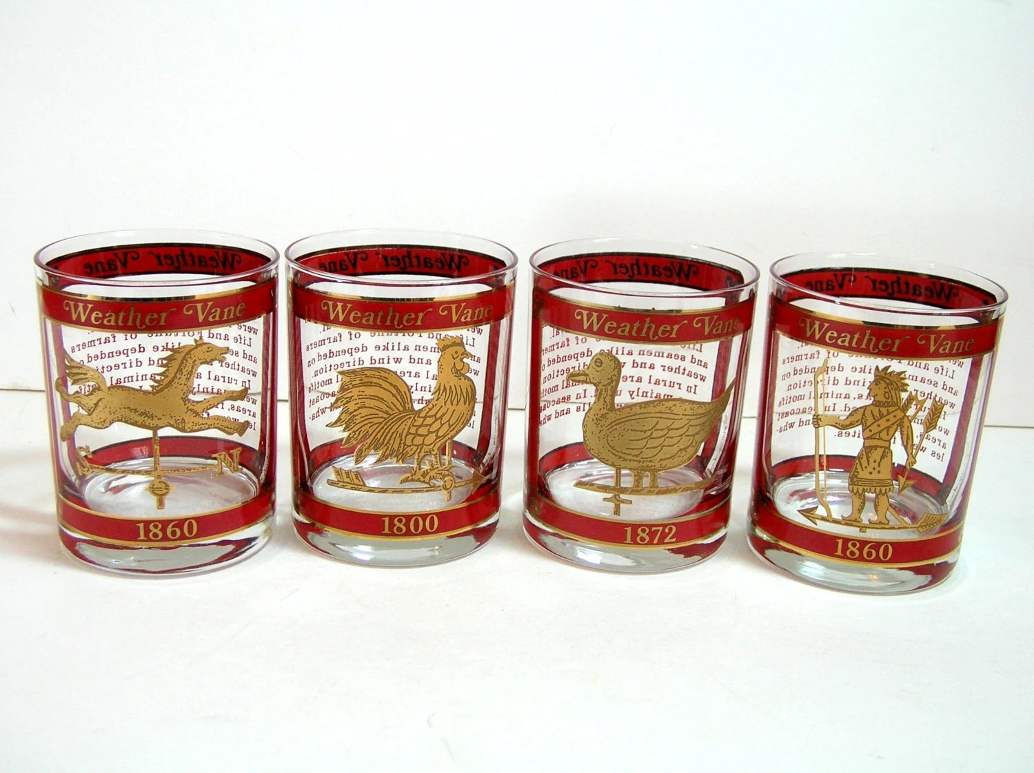 Drinking Glasses Designs Vintage Drinking Glasses With Weathervane Design Bar Glasses
