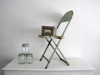 Antique Metal Folding Chair Mint Green by SnapshotVintage ...