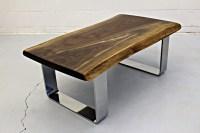 live edge black walnut coffee table with chrome legs