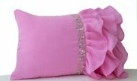 Pink ruffled throw pillows Ruffle pillows 12x20 Pink Lumbar
