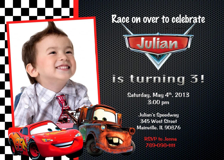 Disney Cars Lightning Mcqueen Mater Birthday Party Invitation
