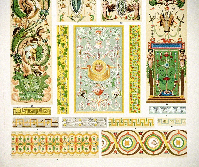 1910 art nouveau ornament print full color original lithograph beautiful nouveau italian ornament design wall art