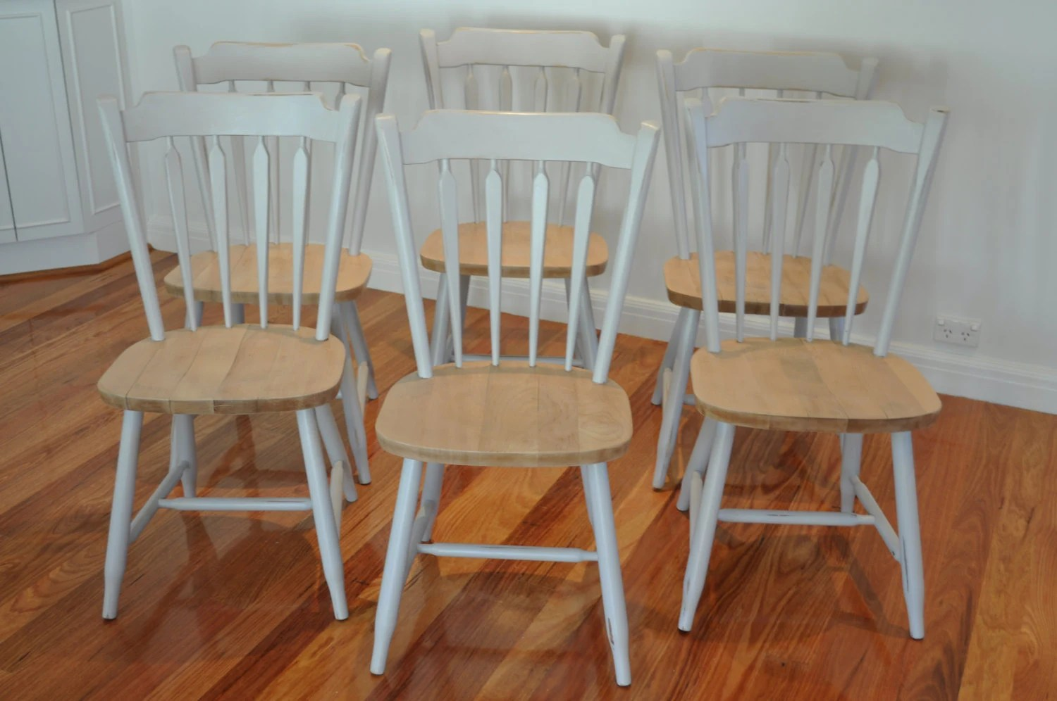 Raw Timber Furniture Chairs 6 No Timber Dining Kitchen Country Charm Grey With