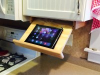 Under cabinet ipad/cookbook holder