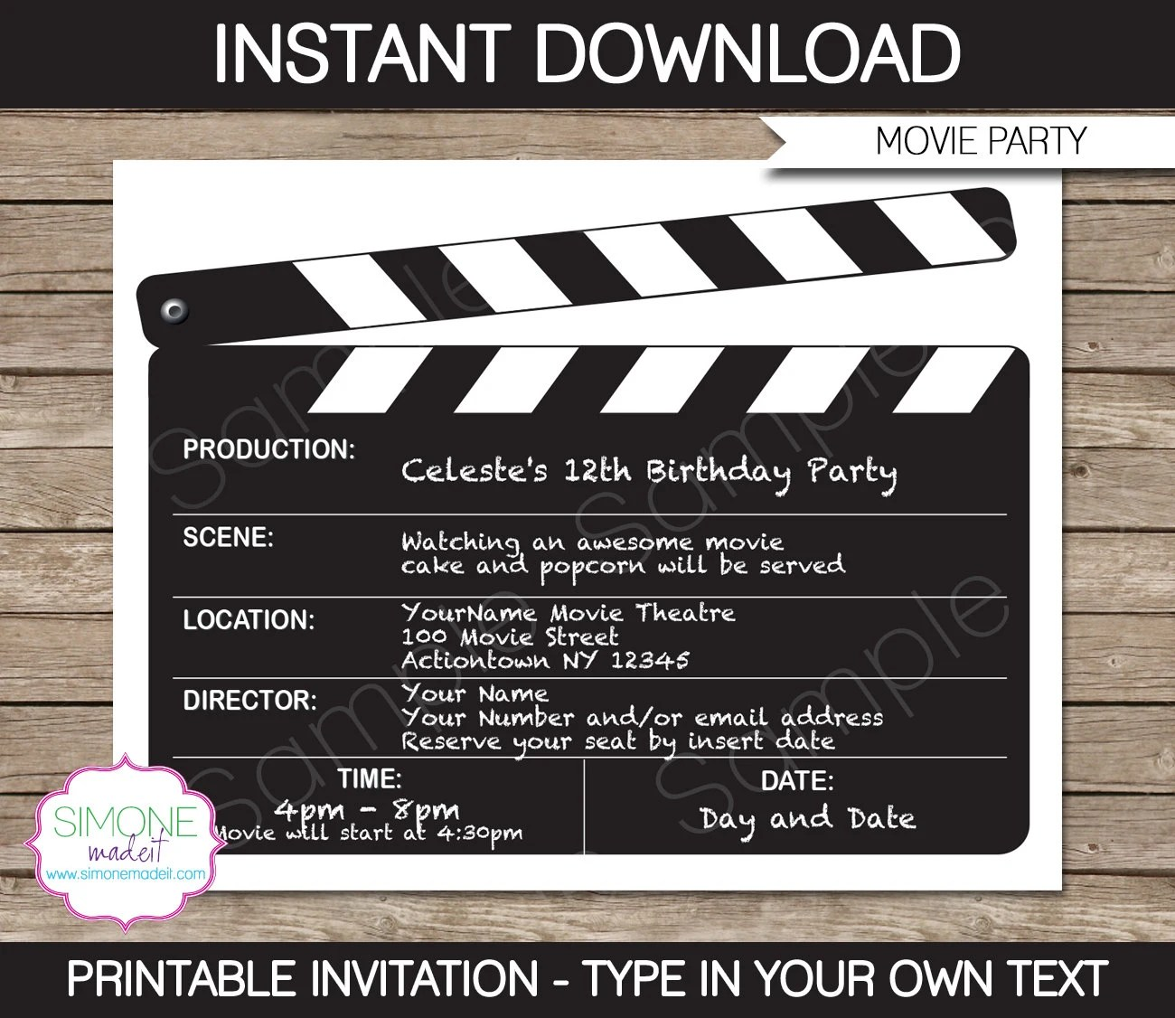 Movie Invitation Template - Movie Night - Birthday Party - INSTANT