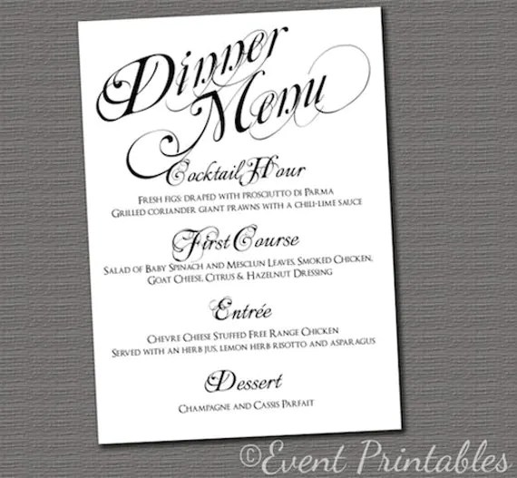 free dinner party menu templates - Minimfagency