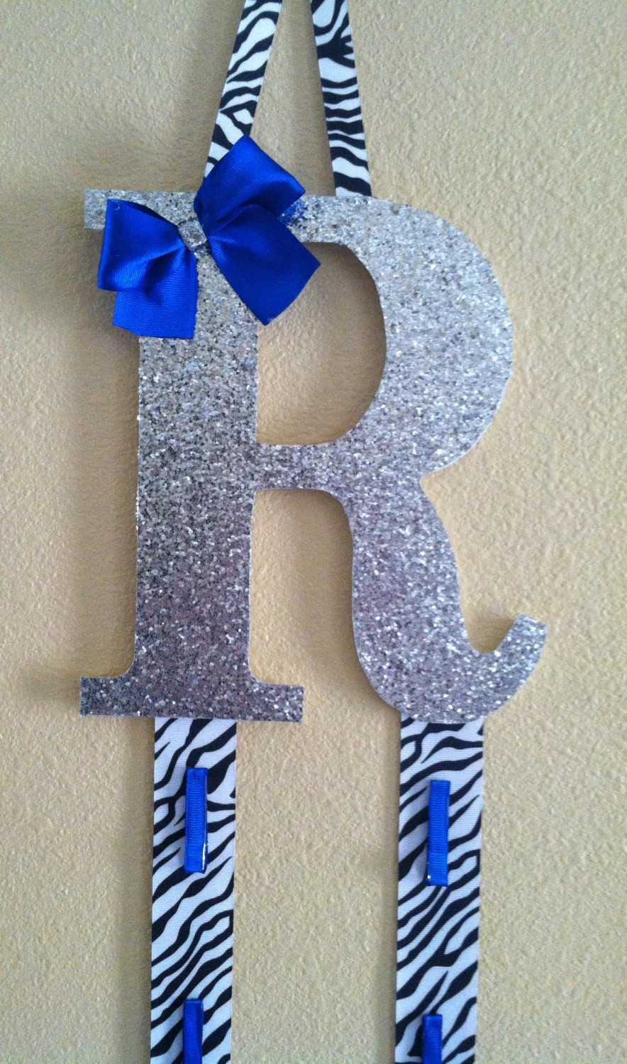 Initial Bow Holder Cheer By Tripleeembroidery On Etsy