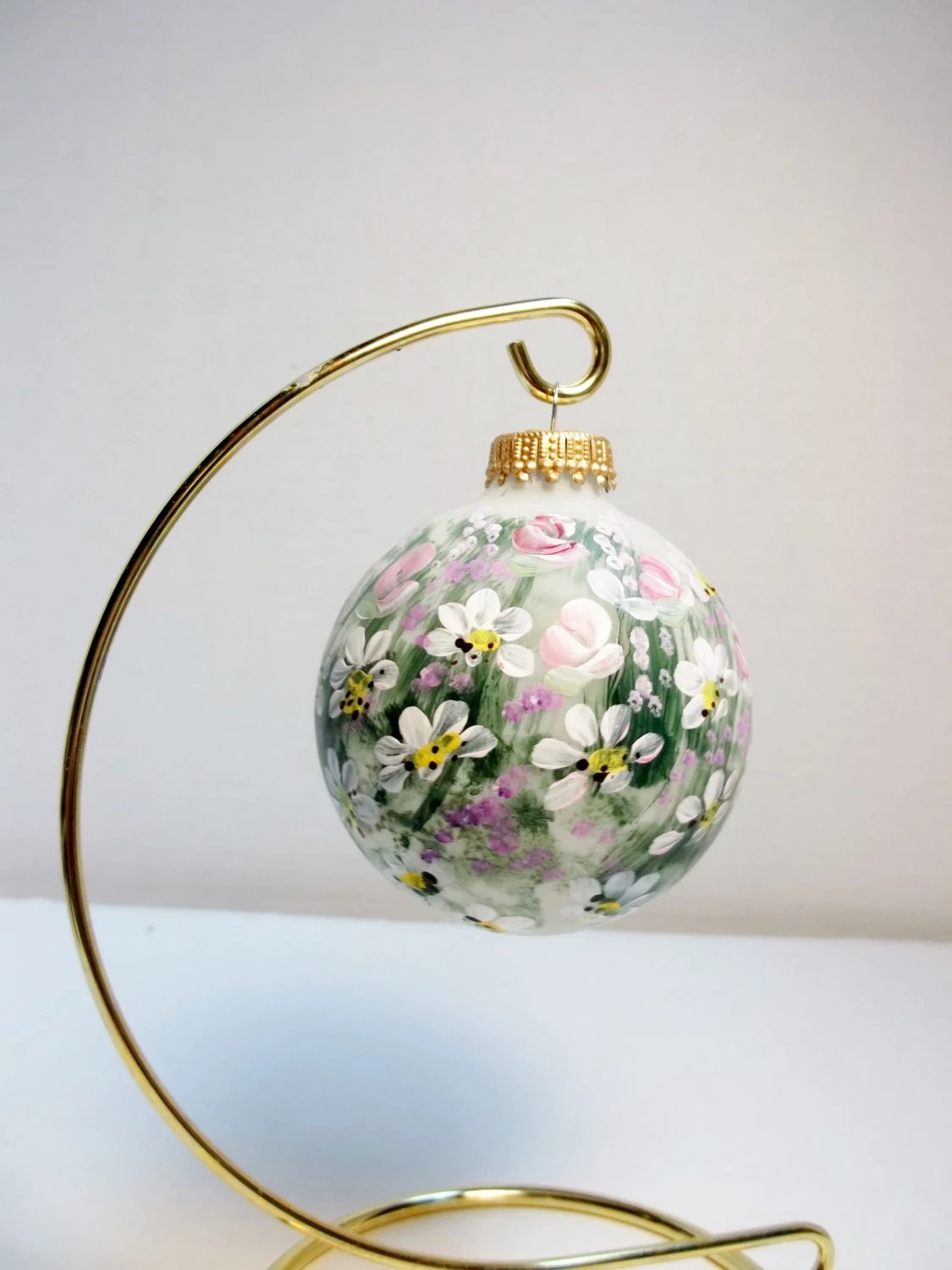 2 5 8 White Glass Christmas Tree Ornament Hand Painted