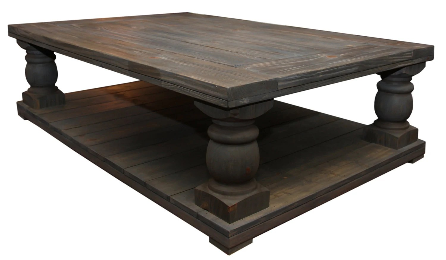 Oversized aged rustic wood coffee table