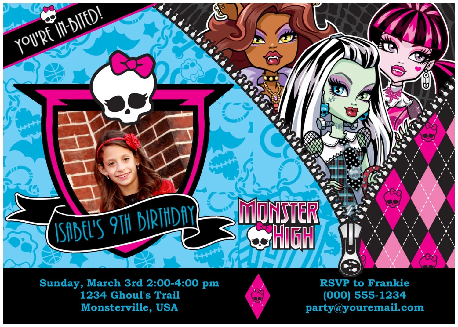 Customized Monster High Birthday Invitations