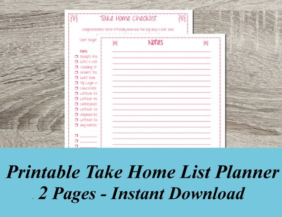 Wedding Planner Take Home Checklist, Wedding Checklist, Final - wedding checklist pdf