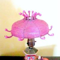 Antique Lamp Shade Pink Beaded Small Fits on Light Bulb