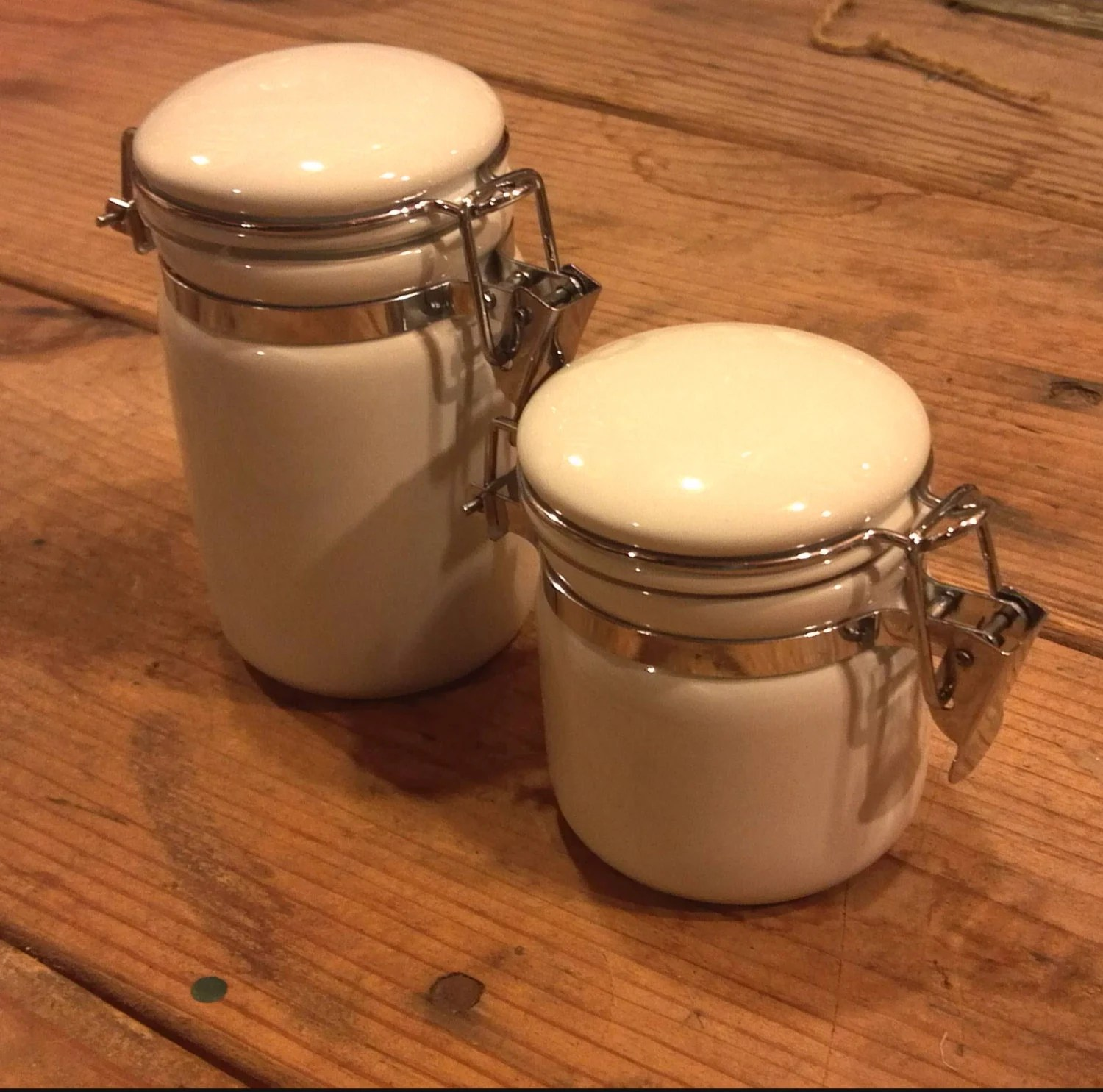 Small Ceramic Jars With Lids 2 Small White Porcelain Apothecary Jars With Hinged Lids