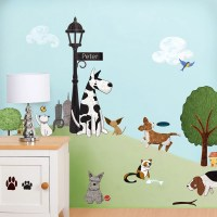 Cat and Dog Wall Decals Stickers for Nursery and Kids Room