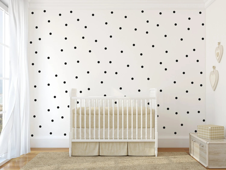 Baby Girl Nursery Removable Wallpaper Small Polka Dot Vinyl Wall Sticker Decal Art Decor Nursery