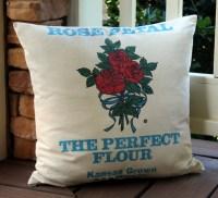 Flour Sack Pillow Rose Petal Flour Red Rose Turquoise