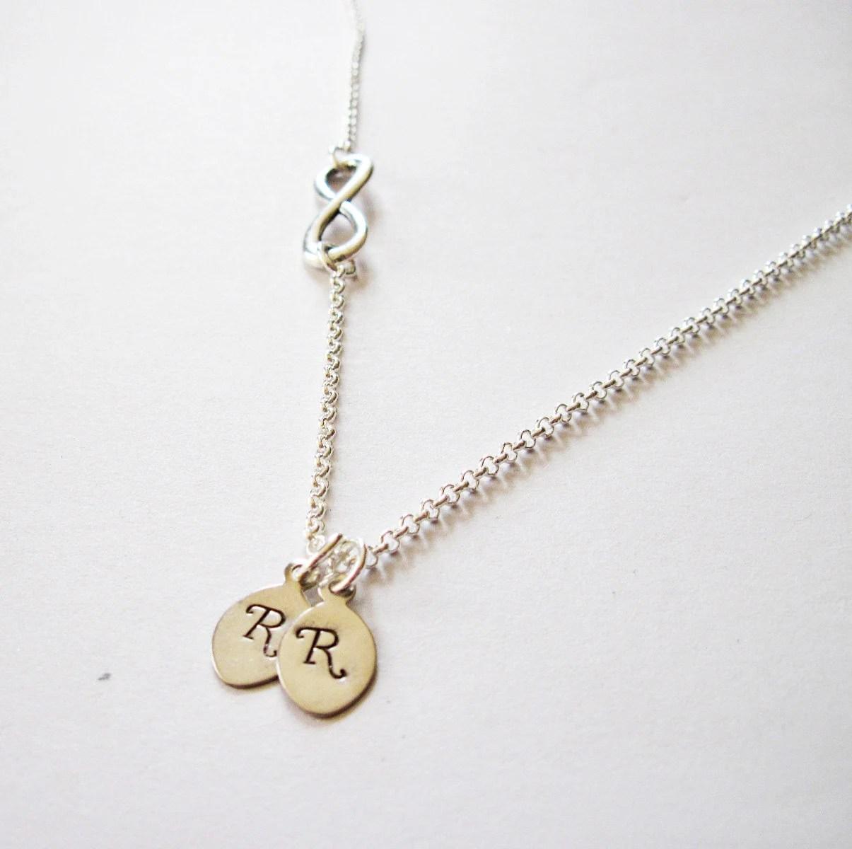 Infinity Necklace With Initial Charm Sideways Infinity