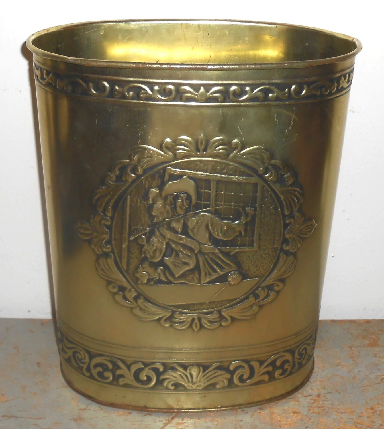 Decorative Metal Waste Baskets Vintage Trash Can Wiebro Brass Colonialtrash Bin Waste