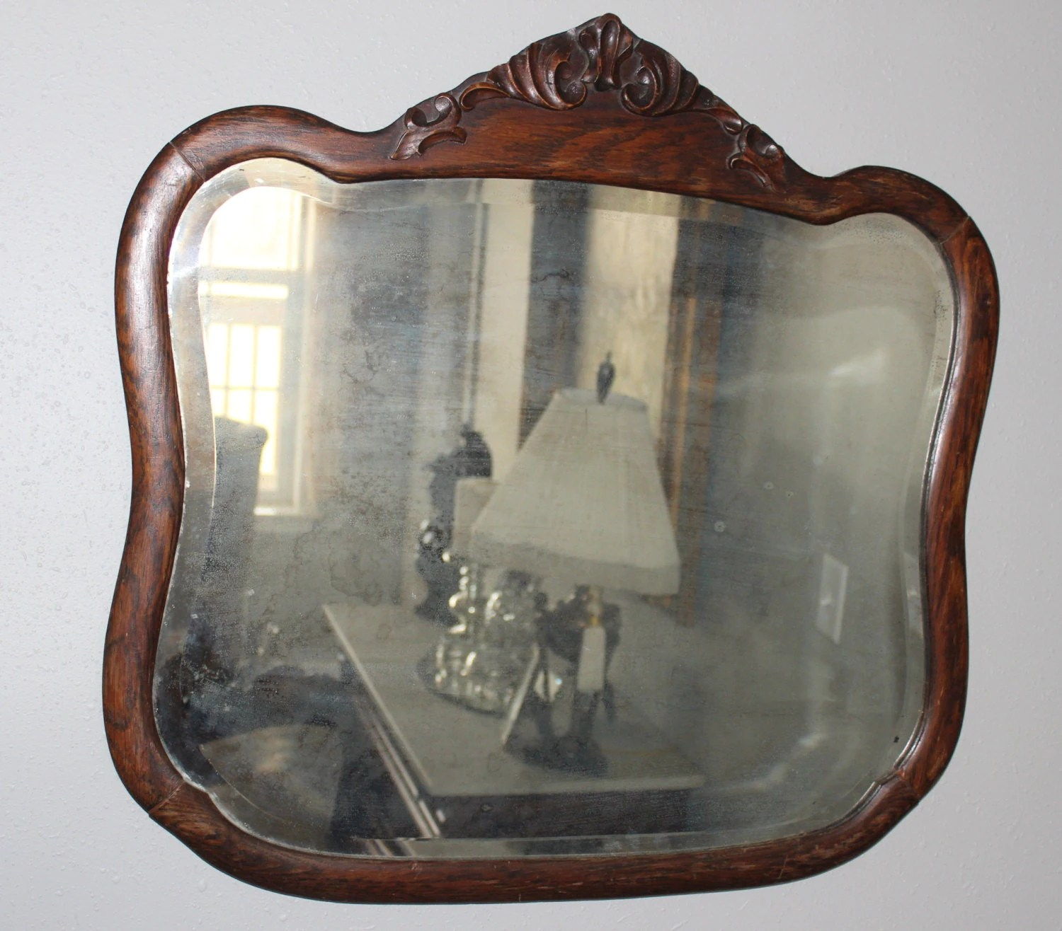 Unique Shaped Mirror Unique Shaped Vintage Beveled Mirror In Carved Oak Frame