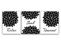 Bathroom Wall Art Relax Soak Unwind Black and White Bathroom