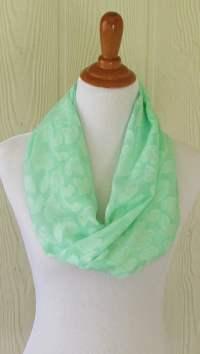 Infinity Scarf Mint Green Floral Weave Women's Chiffon