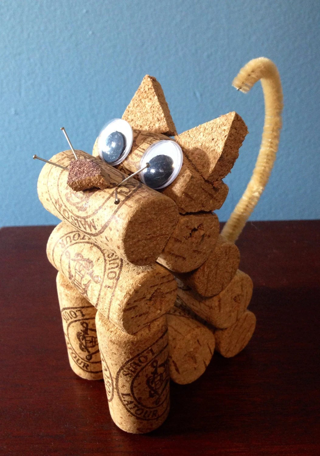 Unique Cat Lover Gift Cat Figurine Made From Recycled Corks