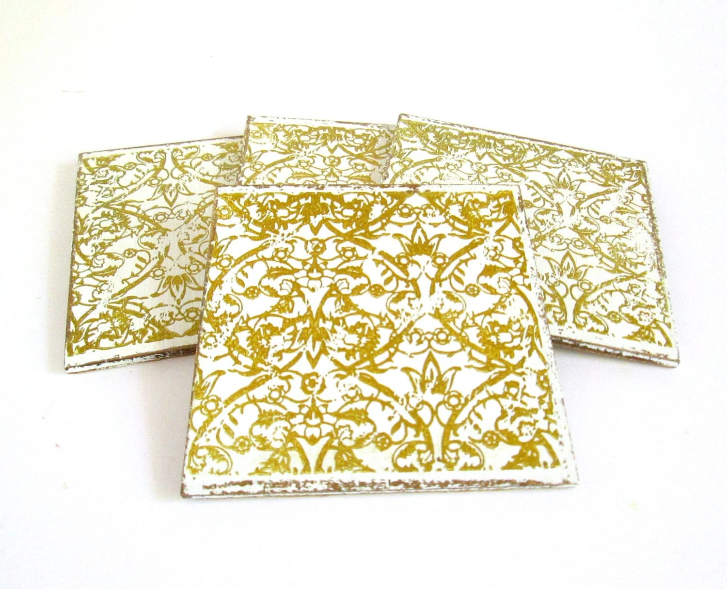 White And Gold Coasters Wood Drinks Coaster In White With Gold Lace Print White