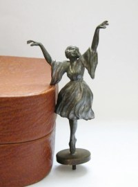 Antique French Spelter Clock Lamp Topper 1920s Flapper