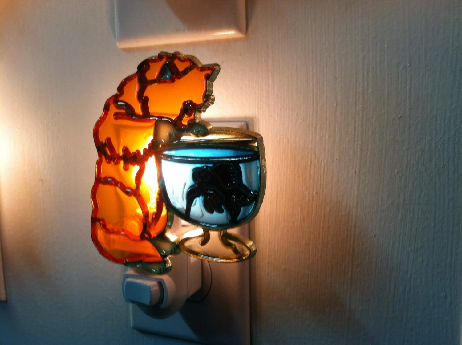 Cat Night Lights Cat With Fish Bowl Night Light With 4 Watt On Off Switch