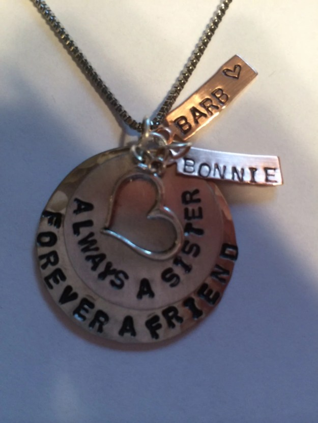 Personalized Hand Stamped Hammered Sister Necklace