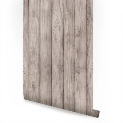 Grey Wood Peel and Stick Fabric Wallpaper Repositionable