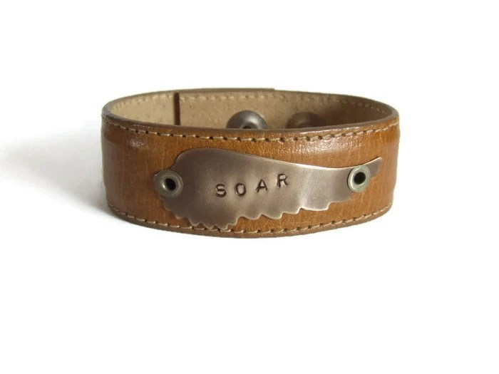 Hand Stamped Leather Cuff Bracelet Tan Leather By