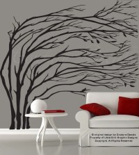 Items similar to Modern black blowing tree wall decal ...