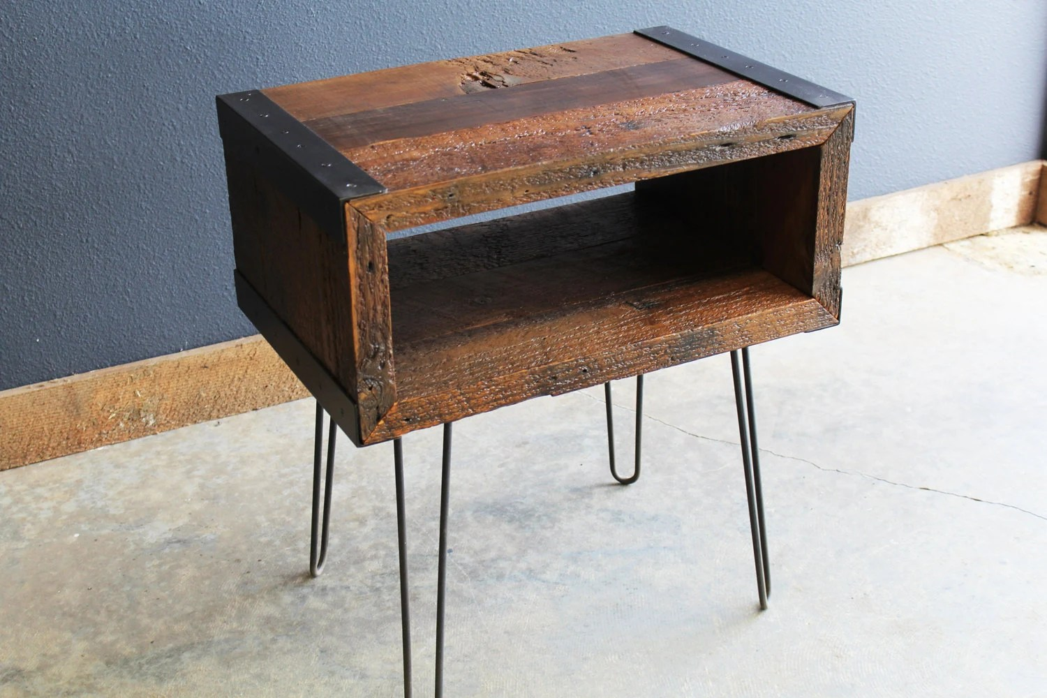 Small Industrial Side Table Industrial End Side Table Tv Stand From Old Barnwood With