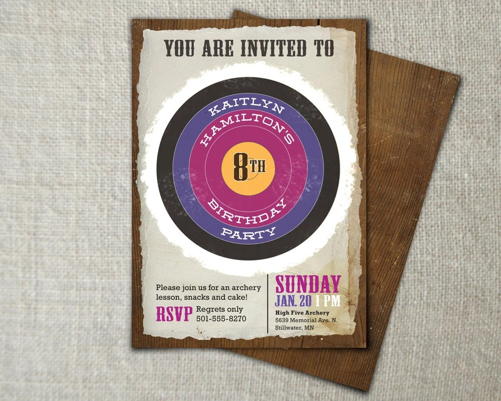 Girls Archery Birthday Invitation Purple And By Peartreespace