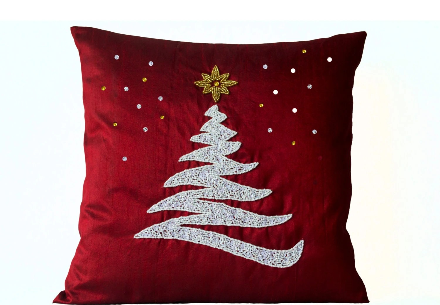 Cushion Covers Christmas Decorative Pillow Cover Christmas Pillow Red Silk By
